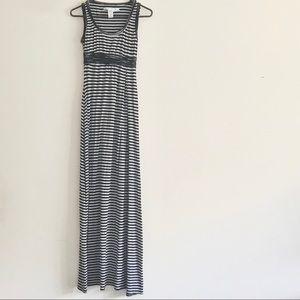 Max Studio - Black & Gray Striped Maxi Dress Sz XS
